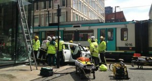 Novice cabbie banned for crashing taxi into tram in Manchester City Centre